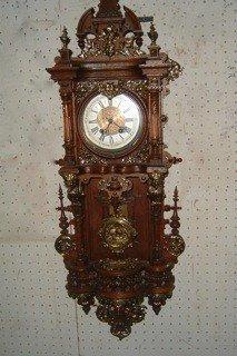 116: Fabulous Decorated Oak and Brass German Wall Clock