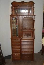 196: Mint Restored Harvard Oak Dental Cabinet