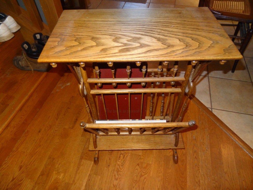 6: Refinished Ornate Stick & Ball Table/Magazine Rack C