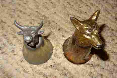 2 Figural Syrup Cups/ Wolf & Cow