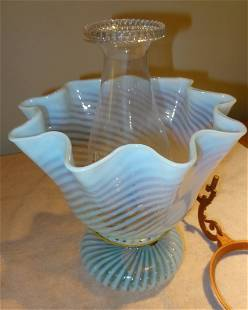 Blue Swirl Kerosene Lamp w/Glass Shade & Bracket