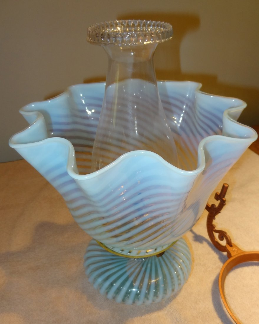 14: Blue Swirl Kerosene Lamp w/Glass Shade & Bracket