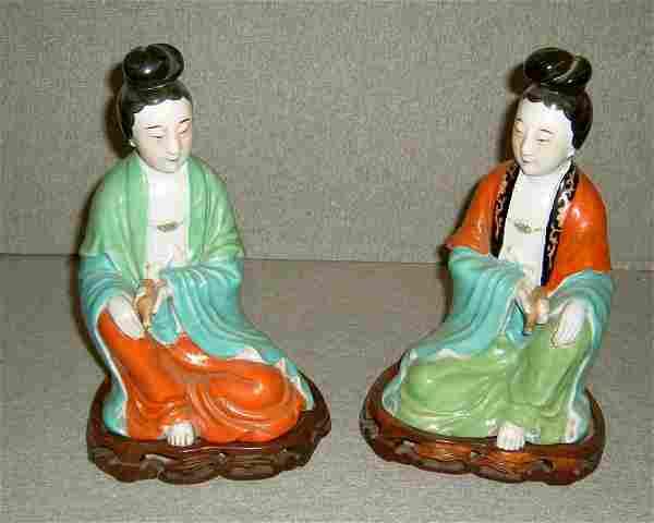 2 Guan-Yin Figures on Base