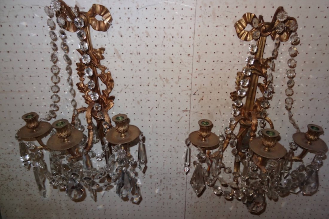 10: Matched Pair of 3 Arm Bronze & Crystal Sconces