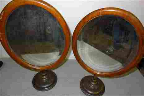 2 Early Oval Adjustable Brass & Wood Store Mirrors