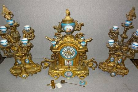 150: Signed French Bronze & Seves 3 Pc. Clock Set