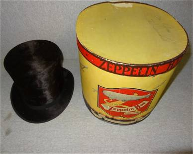 Black Stovetop Hat w/Zepplin Hat Box
