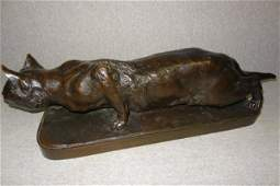 Large French Bronze Cat