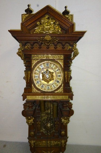 Large German Bronze & Oak Clock