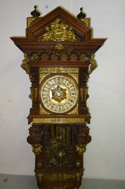 Large German Bronze & Oak Clock