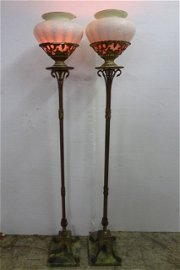 Pair of Durand Torchere Lamps with Lady Gay Rose Hand