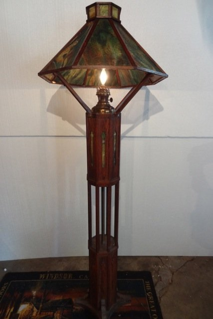 Rare Mission Oak Stained Glass Floor Lamp