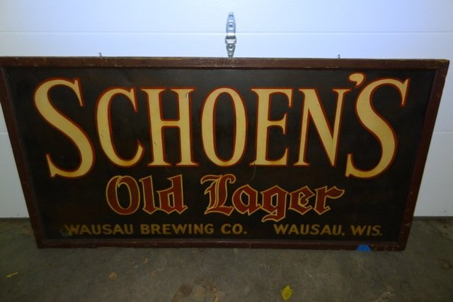 Large Schoen's Old Lager Beer Sign- Wausau Brewing Co.