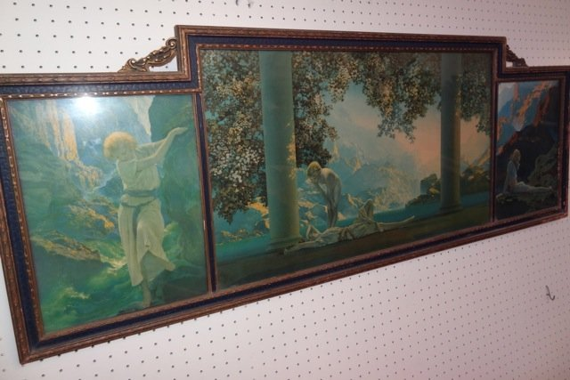 Large Triptych Maxfield Parrish Framed Print