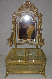 Fabulous French Figural Jewelry Box w/ Etched Beveled