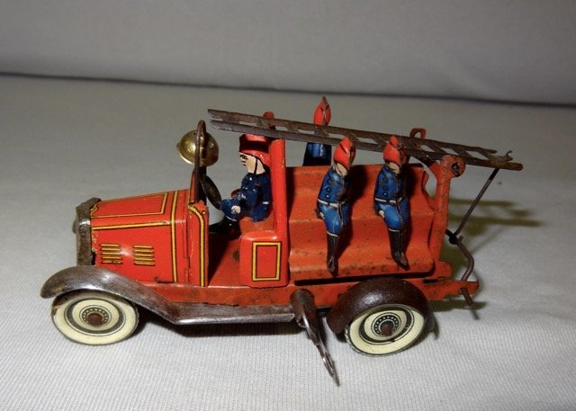 Early Tin German Fire Engine Truck w/Riders