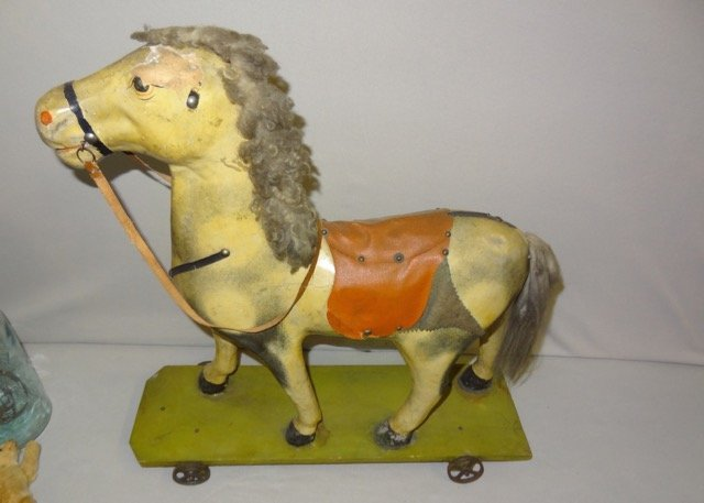 Large Early Paper Mache Pony on Wheels