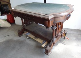 Large Walnut Carved Library Table