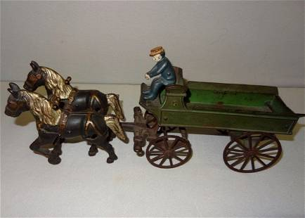 Large Early Cast Iron Horse Drawn Wagon & Rider