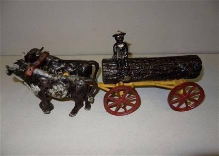 Large Black Boy Logging Cart by Oxen