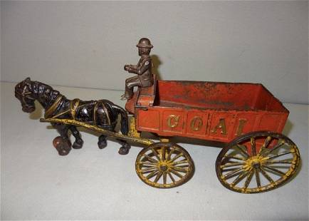 Large Cast Iron Horse Drawn Coal Wagon