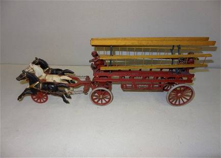 Large Early Horsedrawn Cast Iron Ladder Truck