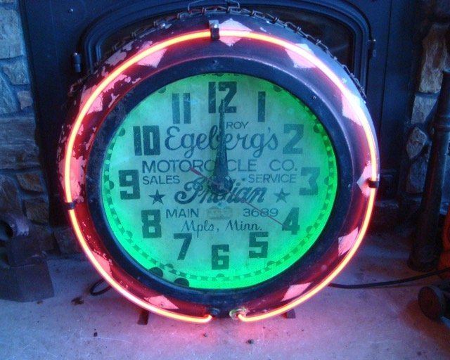 40's Cleveland Neon Indian Motorcycle Advertising Clock