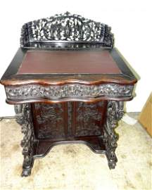 """Chinese Rosewood Carved 1850""""s Davenport Desk"""