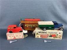 R & C Tin Trolley Car, 2 Minic Toys