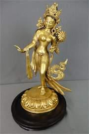 Heavy Metal Statue of Standing Tara
