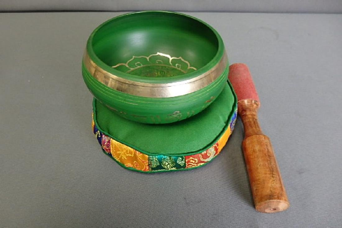 Green Singing Bowl with Green Cushion