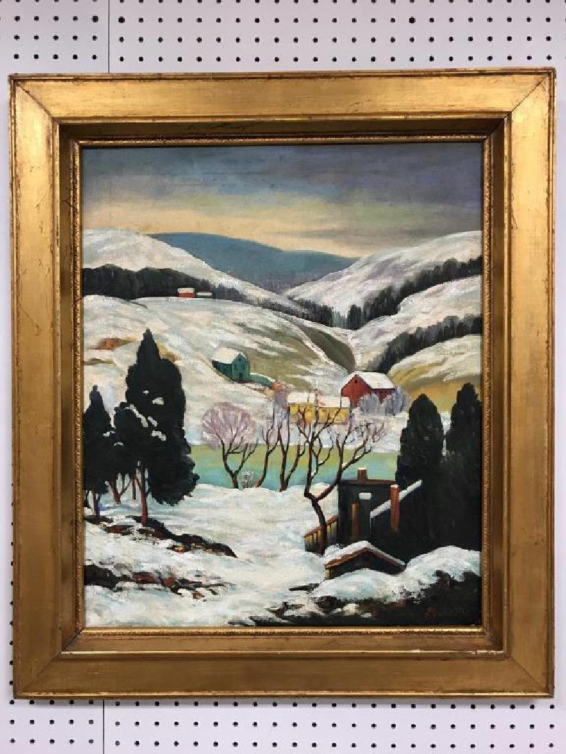 Oil on canvas Snow scene