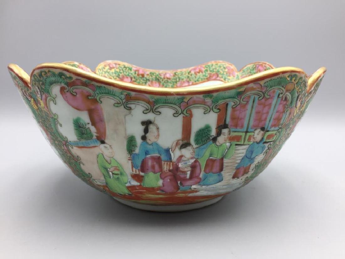 Rose Medallion cut corner bowl