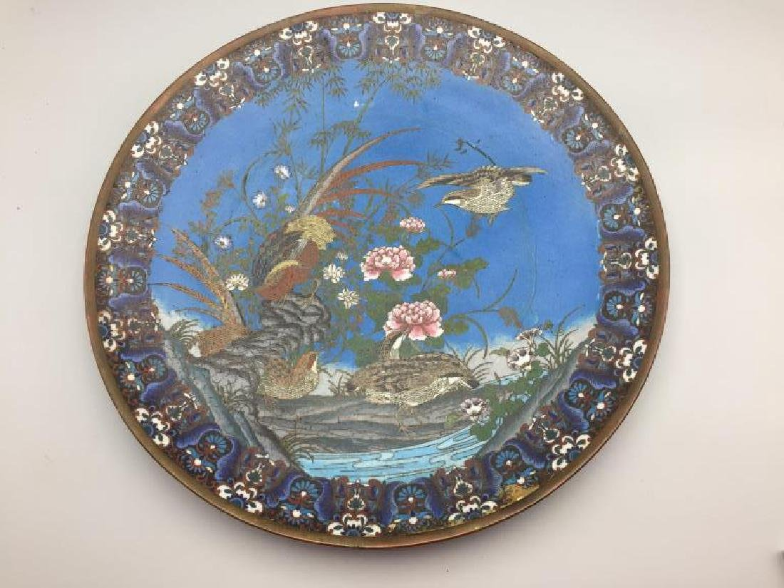 Large Cloisonné charger with birds flowers