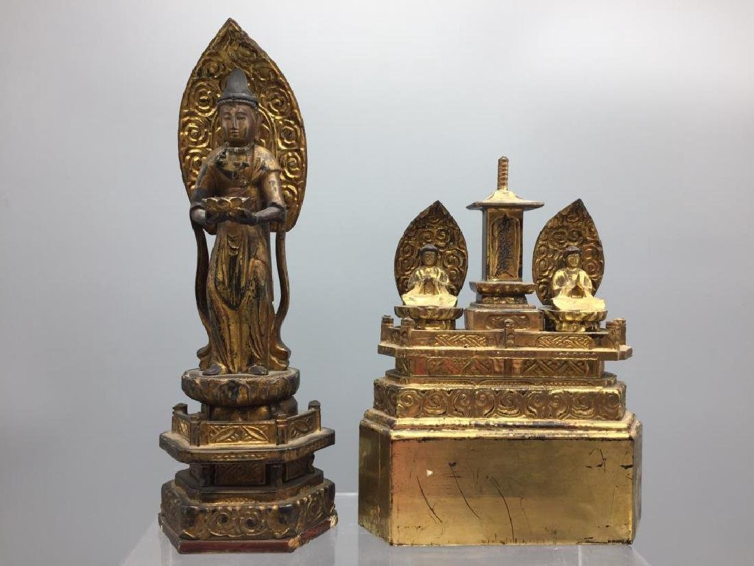 Two early  Asian wooden religious Dieties