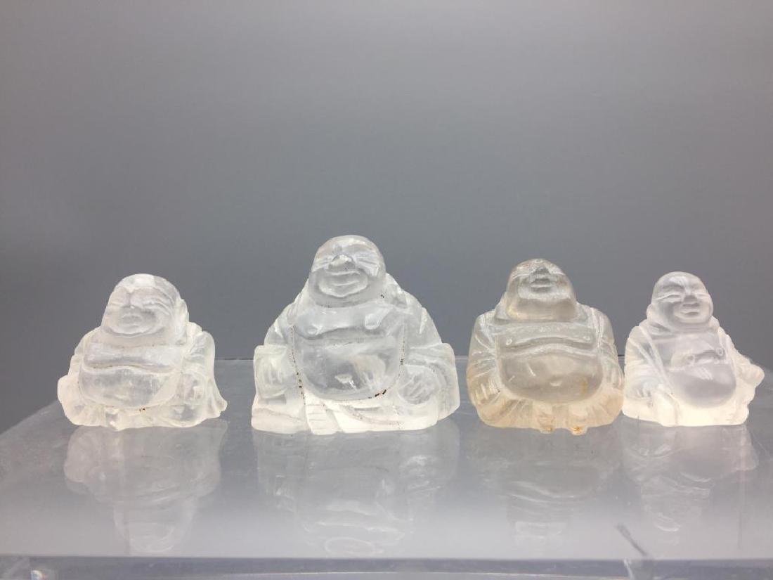 Four Quartz Crystal seated Buddhas