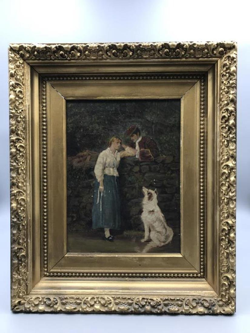 Lovers with dog oil on canvas