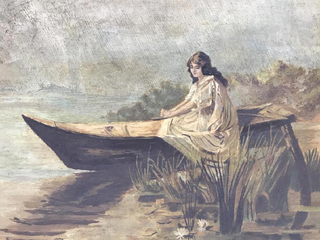 Girl in boat oil on canvas - 2