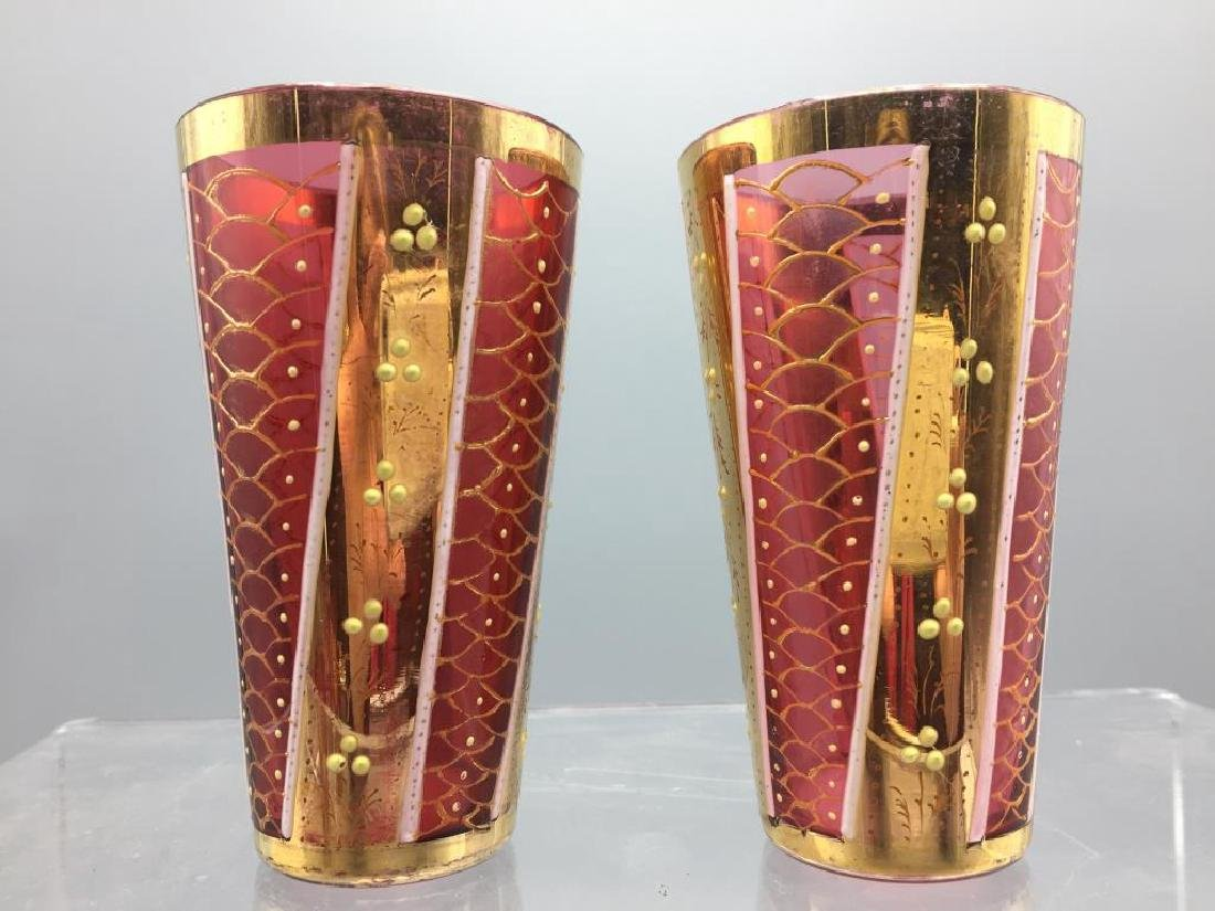 5 Cranberry Moser glass tumblers - 2