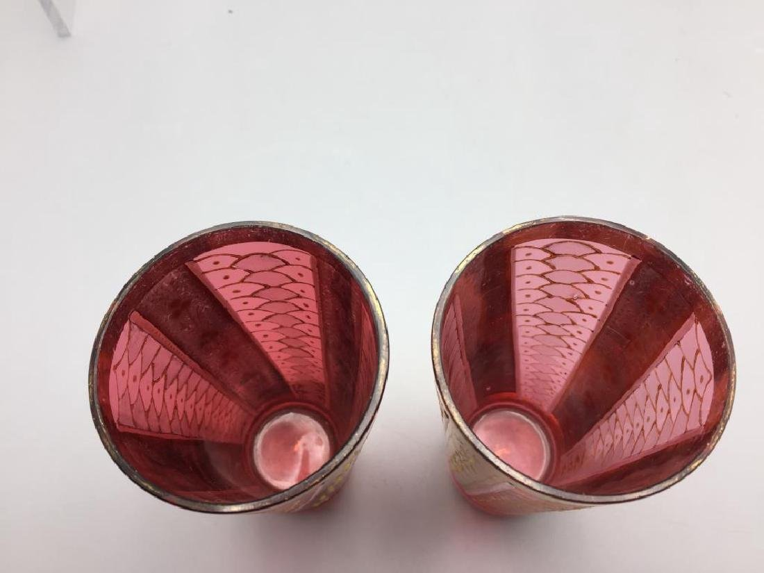 5 Cranberry Moser glass tumblers - 3