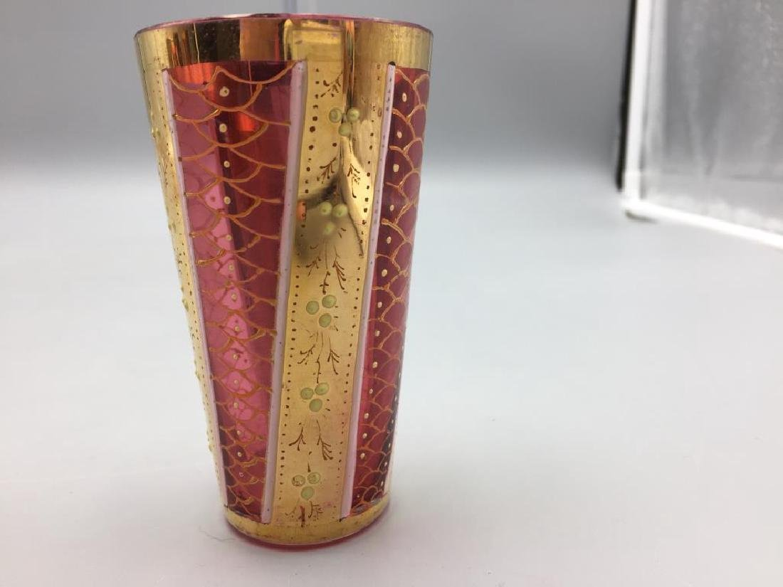 5 Cranberry Moser glass tumblers - 5