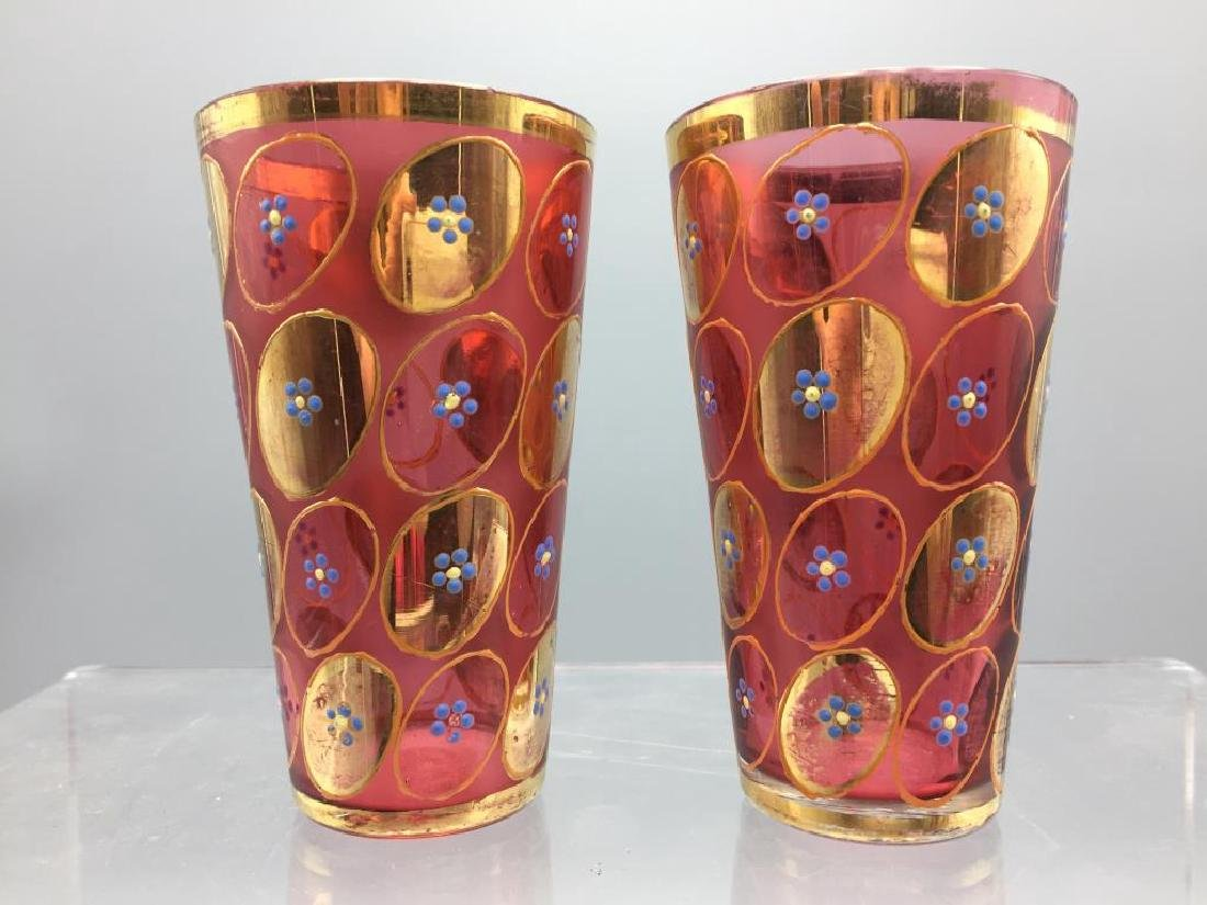 5 Cranberry Moser glass tumblers - 6