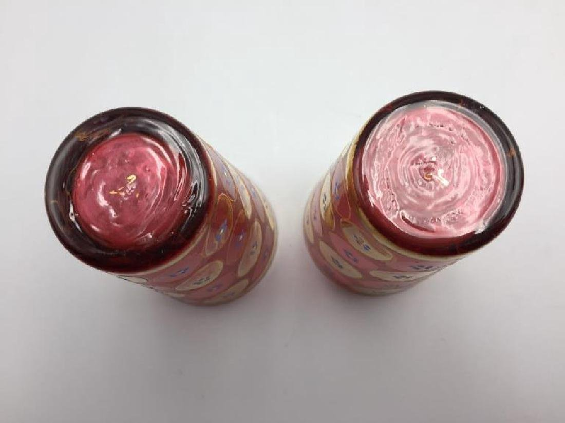5 Cranberry Moser glass tumblers - 8