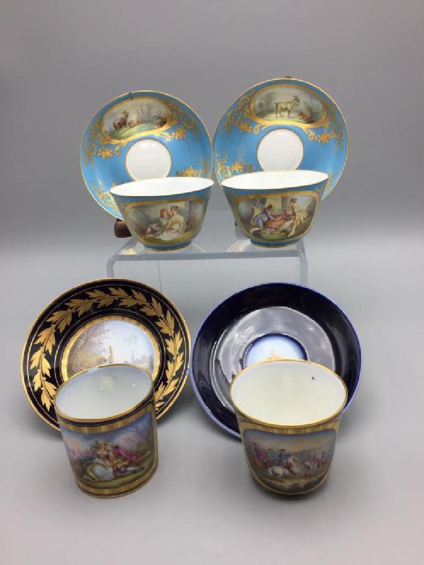 Sevres cup and saucer, lot of 4