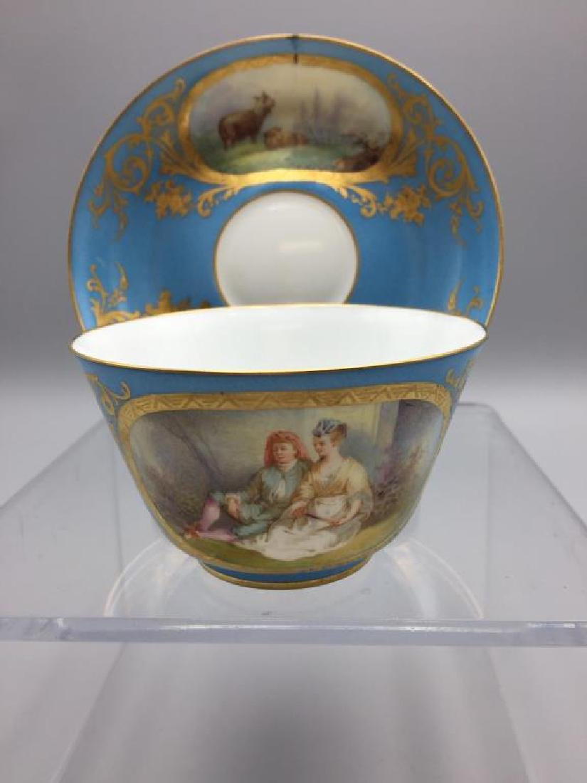 Sevres cup and saucer, lot of 4 - 4