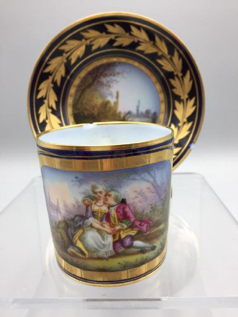 Sevres cup and saucer, lot of 4 - 8