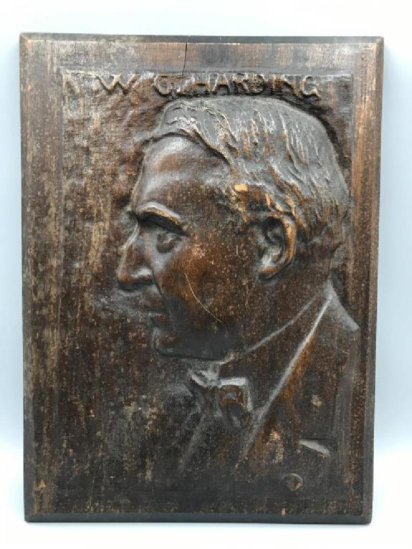 Warren G. Harding wood carving
