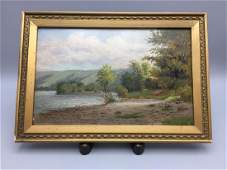 J Carson river scene  oil on board painting