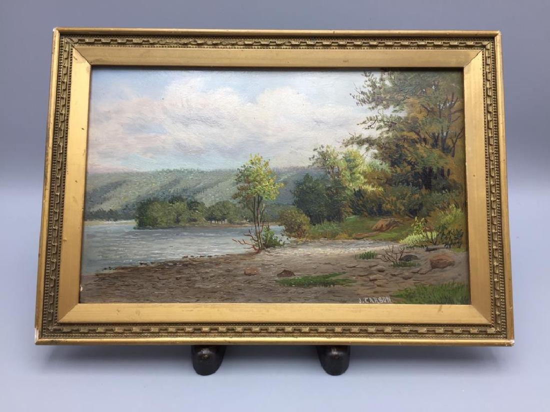J Carson river scene  oil on board painting