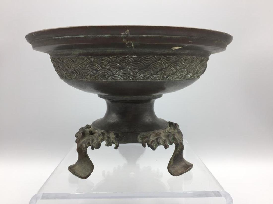 Asian bronze offering dish in 3 footed base